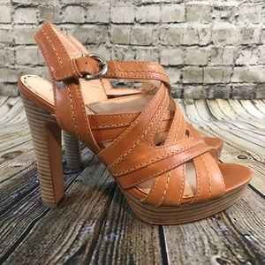 Coach Women's Tan Leather Strap Heeled Sandals 8